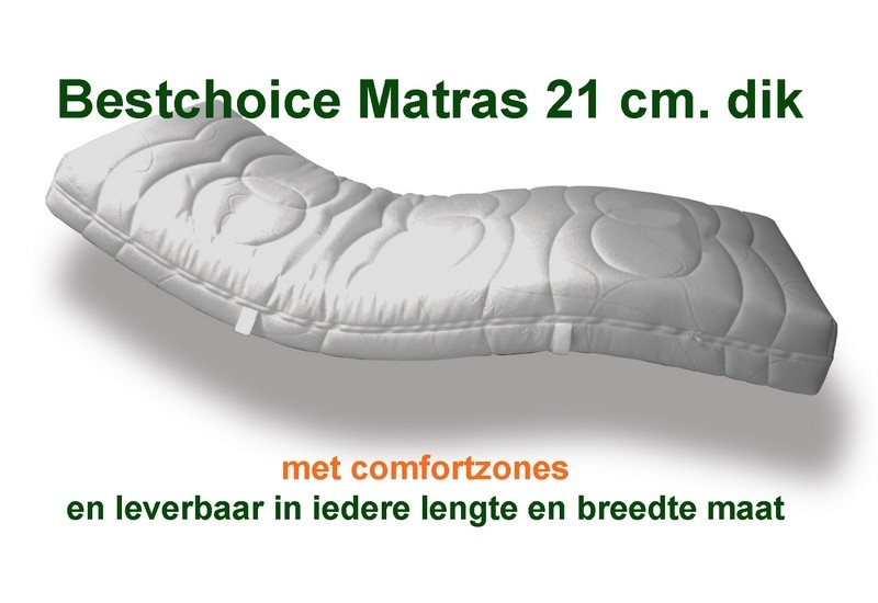 Incontinentie matras Bestchoice 21 cm  dik.1ste klas kwaliteits- matras met comfort zones